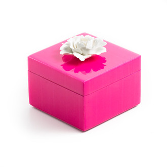 Lacquer Box Square Hot Pink with Flower