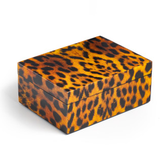 Lacquer Box Rectangle Medium, Cheetah Print