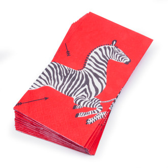 Paper Guest/Dinner Napkins, Scalamandre Zebras Red