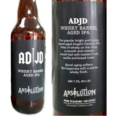 Absolution Brewing AD/JD Jack Daniel's Barrel-aged IPA 22oz