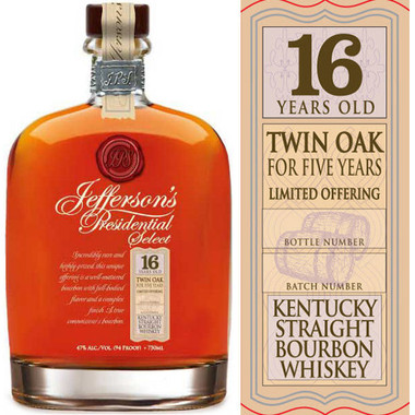 Jefferson's Presidential Select 16 Year Old Bourbon 750ml