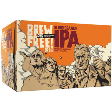 21st Amendment Brew Free or Die! Blood Orange IPA 12oz 6 Pack Cans