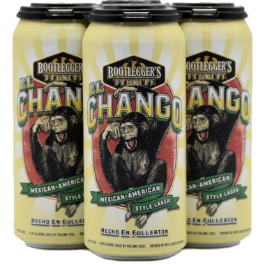 """Bootlegger's """"El Chango"""" Mexican Lager 16oz 4 Pack Cans"""