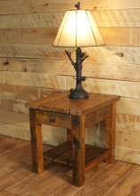 Reclaimed Vintage White Pine End Table With Shelf U0026 Drawer