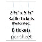 "Perforated sheet for 2-1/8"" x 5-1/2"" Raffle Tickets"