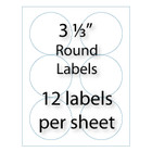"3-1/3"" Round Labels 