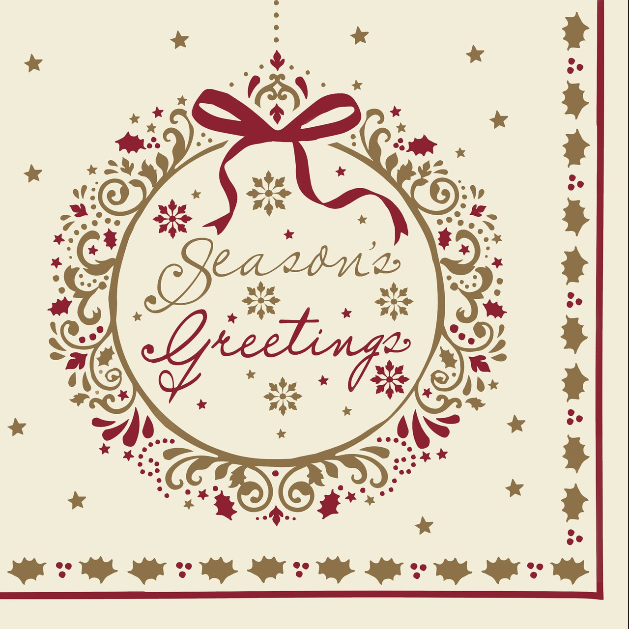 Seasons Greeting Swansoft Christmas Napkins 40cm