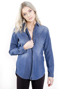 Mavi Juliet Denim Shirt in Mid