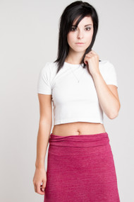 C'est Moi Bamboo Crop Tee in White