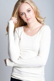 C'est Moi Bamboo Long Sleeve Scoop Neck in Ivory
