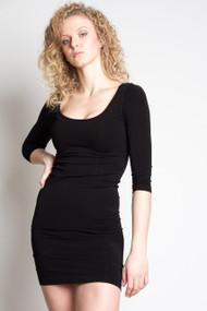 C'est Moi Bamboo 3/4 Sleeve Dress in Black