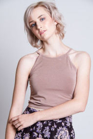 C'est Moi Bamboo High Neck Crop Top in Taupe