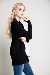 Kersh Open Cardigan in Black