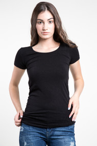 C'est Moi Bamboo SS Scoop Neck Top in Black