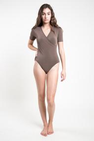 C'est Moi Bamboo Wrap Bodysuit in Khaki