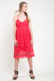 Dex V-Neck Lace Dress in Poppy Red