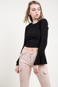 Amuse Society On My Mind Knit Top in Black