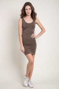 C'est Moi Bamboo Tank Dress in Khaki