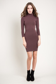 C'est Moi Bamboo Turtle Neck Dress in Coffee