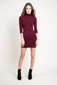 C'est Moi Bamboo Turtle Neck Dress in Bordeaux