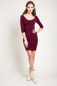 C'est Moi Bamboo 3/4 Sleeve Dress in Bordeaux