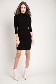 C'est Moi Bamboo Turtle Neck Dress in Black