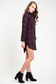 Dex Plaid Tunic in Burgundy