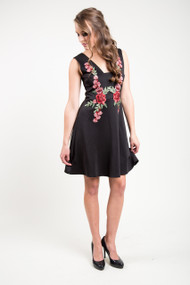 Dex Floral Applique Dress in Black