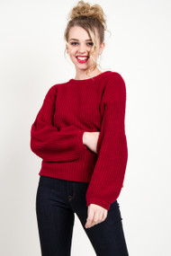 Amuse Society Rodas Sweater in Crimson