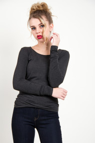 C'est Moi Bamboo Long Sleeve Scoop Neck in Heather Black