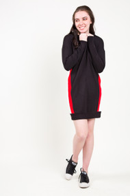 Dex Sport Stripe Sweater Dress in Black