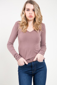 C'est Moi Bamboo Long Sleeve V-Neck Top in Mocha