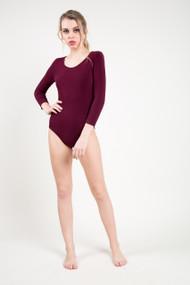 C'est Moi Bamboo 3/4 Sleeve Bodysuit in Bordeaux