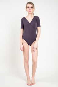 C'est Moi Bamboo Wrap Bodysuit in Charcoal