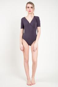C'est Moi Bamboo Wrap Bodysuit in Charcoal