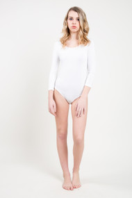 C'est Moi Bamboo 3/4 Sleeve Bodysuit in White