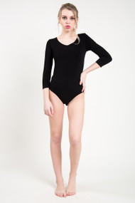 C'est Moi Bamboo 3/4 Sleeve Bodysuit in Black