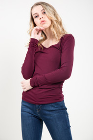 C'est Moi Bamboo Long Sleeve V-Neck Top in Bordeaux