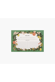 Rifle Paper Co. Pack of 12 Citrus Floral Recipe Cards