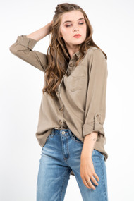 Dex Patch Pocket Top in Parfait Tan