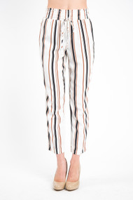 Black Tape High Rise Cigarette Pant in Off White