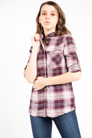 Dex Plaid Shirt in Burgundy
