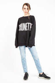 Brunette The Label Big Sister Oversized Brunette Shadow Crew in Black
