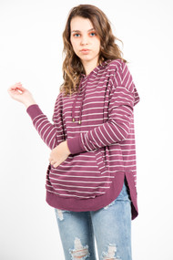 Z Supply Dakota Pullover in Pearl + Mauve Wine