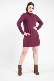 Z Supply Turtleneck Sweater Dress in Mauve Wine
