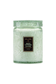 Voluspa Holiday Glass Jar Candle in White Cypress