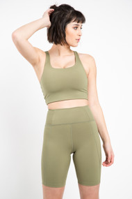 Girlfriend Collective Paloma Bra in Olive