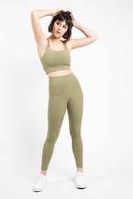 Girlfriend Collective High Rise Ankle Legging in Olive