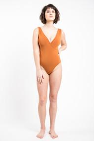C'est Moi Bamboo Tank Wrap Bodysuit in Ginger