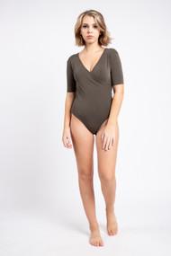 C'est Moi Bamboo Wrap Bodysuit in Olive